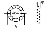 DIN 6798 abanico exterior (FORMA J)